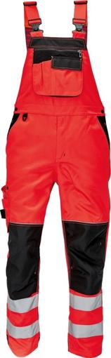 Obrázek z KNOXFIELD HI-VIS Reflexní kalhoty s laclem - červená