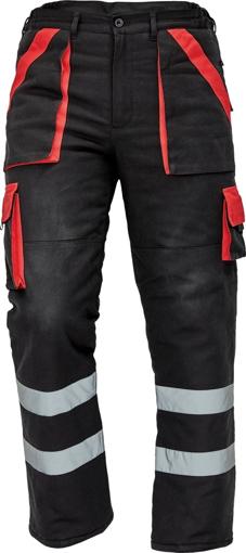 Obrázek z Červa MAX WINTER RFLX Pracovní kalhoty do pasu černo / červené zimní