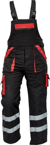 Obrázek z Červa MAX WINTER RFLX Pracovní kalhoty s laclem černo / červené