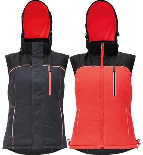 Obrázek z KNOXFIELD LADY Pracovní vesta antracit / červená - zimní