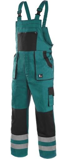 Obrázek z CXS LUXY BRIGHT Pracovní kalhoty s laclem zeleno / černé