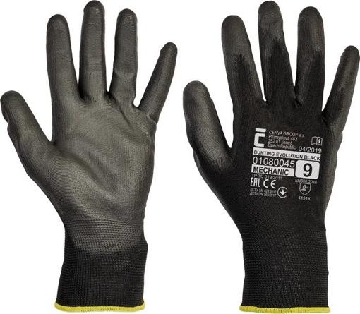 Obrázek z Červa BUNTING BLACK EVOLUTION Pracovní rukavice černá - 240 Párů