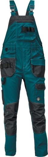 Obrázek z Červa DAYBORO Pracovní kalhoty s laclem petrolejová / černá