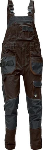 Obrázek z Červa DAYBORO Pracovní kalhoty s laclem tm. hnědá / hnědá