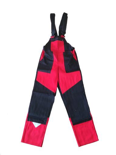 Obrázek z M+P DAVID Dětské pracovní kalhoty s laclem černo / červené