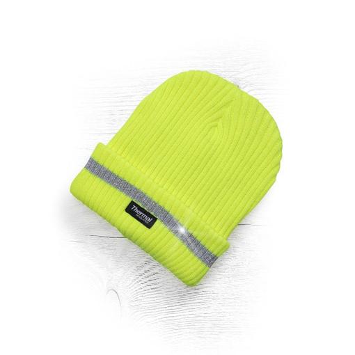 Obrázek z ADLER SPARK Zimní čepice pletená + fleece hi-viz žlutá