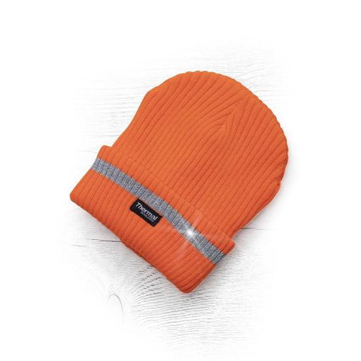 Obrázek z ADLER SPARK Zimní čepice pletená + fleece hi-viz oranžová
