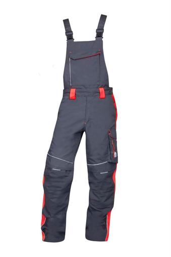 Obrázek z ARDON NEON Pracovní kalhoty s laclem šedo-červené