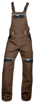 Obrázek z COOL TREND Pracovní kalhoty s laclem hnědé zkrácené
