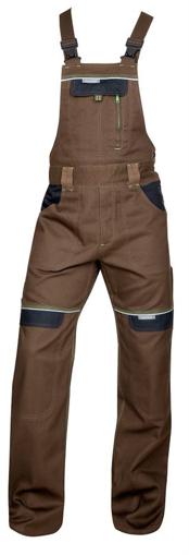 Obrázek z COOL TREND Pracovní kalhoty s laclem hnědé prodloužené