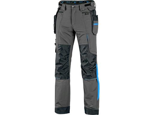 Obrázek z CXS NAOS Montérkové kalhoty šedo-černé, HV modré doplňky