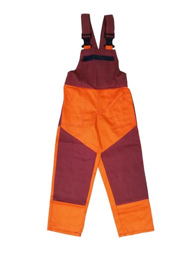 Obrázek z M+P DAVID Dětské pracovní kalhoty s laclem oranžovo / vínové