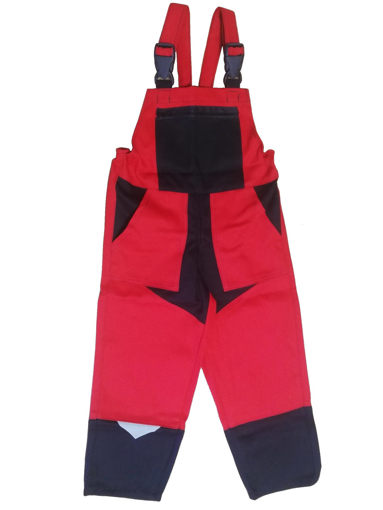 Obrázek z M+P DAVID Dětské pracovní kalhoty s laclem červeno / černé