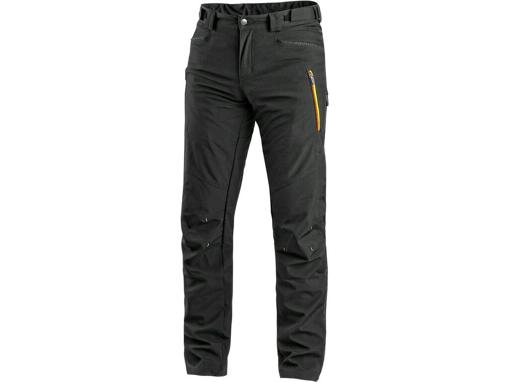 Obrázek z CXS AKRON Pánské kalhoty do pasu, softshell, černé s HV žluto/oranžovými doplňky