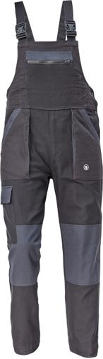 Obrázek z Cerva MAX NEO Pracovní kalhoty s laclem černo / šedé