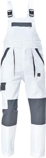 Obrázek z Cerva MAX NEO Pracovní kalhoty s laclem bílo / šedé